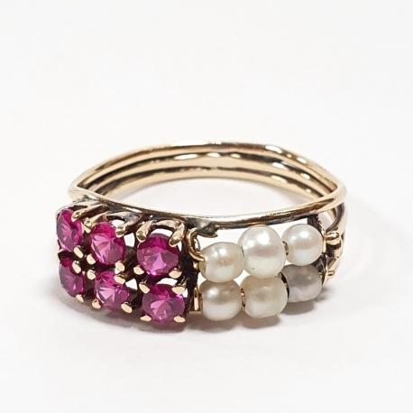 Sortija rubies y perlas